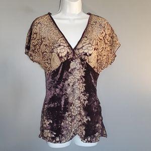 Bebe purple velvet burnout blouse, S